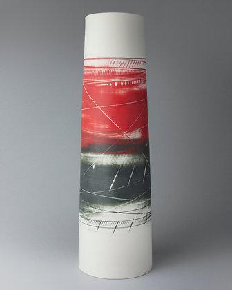Tall cylinder vase. Red & black
