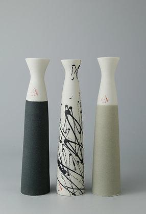 Set of three fluted stem vases. Olives & blacks