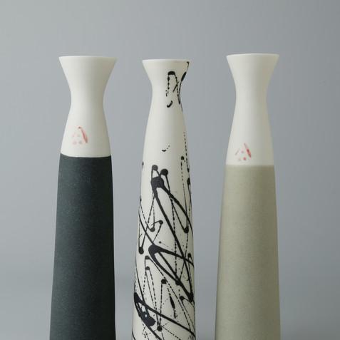 Fluted stem vases