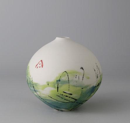 Fat bud vase. Lime monoprint