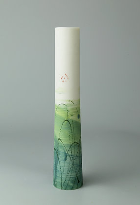 Stem vase. Monoprint teal & lime