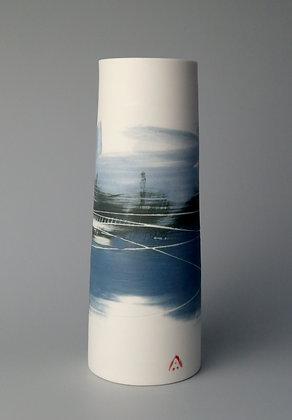 Cylinder vase. Blue landscape