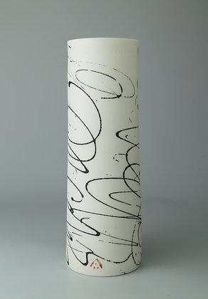 Cylinder vase. Black scribble
