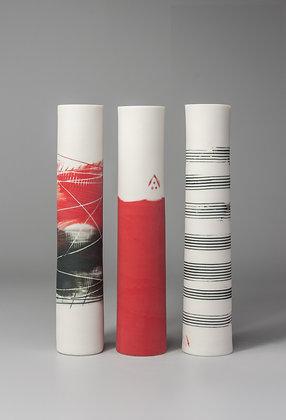 Set of three stem vases. Reds & music lines