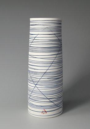 Cylinder vase. Blue lines