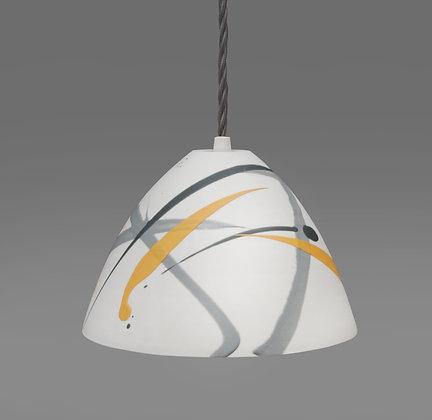 Small light. Conical shape. Grey & yellow splash