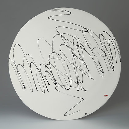 Flat platter. Black scribble