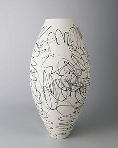 Oval vase. Black scribble. 26cm.jpg
