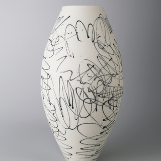 Oval vase. Black scribble