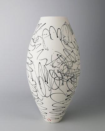 Oval vase. Black scribbles