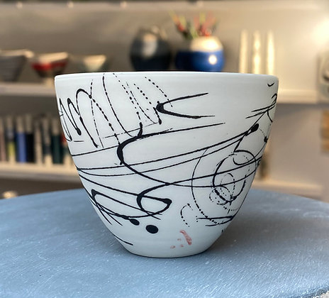 Small cup/bowl. Black scribble