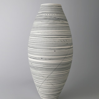 Oval vase. Black lines