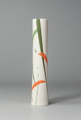 Stem vase. Orange & green splash