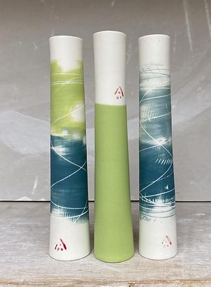 Set of three stem vases. Teal & lime, Lime, Two teals