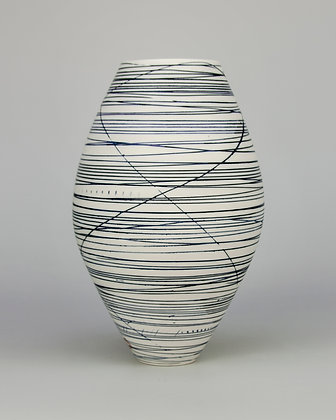 Oval vase. Blue lines