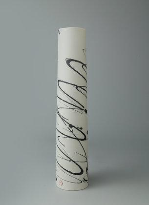 Tall, slim cylinder vase. Black scribble