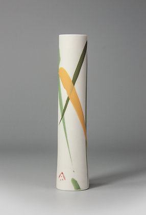 Stem vase. Yellow & green splash