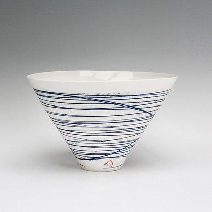 V bowl. Blue lines
