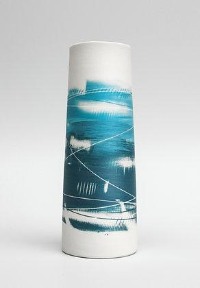 Cylinder vase. Teal & turquoise