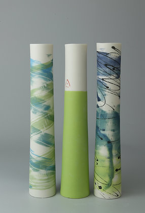 Set of three stem vases. Teal and lime