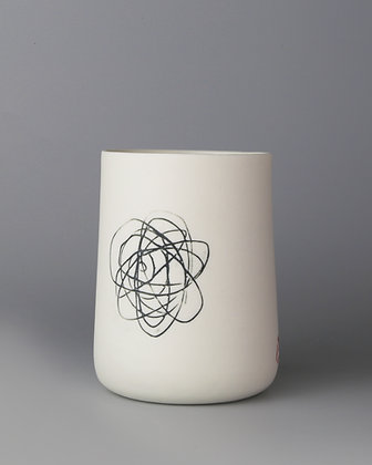 Tall cup. Spiral scribble