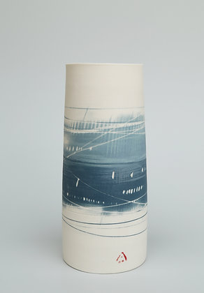 Cylinder vase. Two blues.