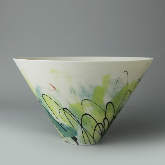 V bowl. Teal Lime monoprint