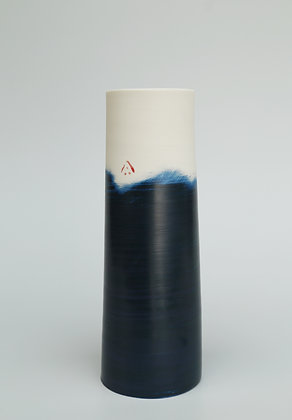 Cylinder vase. Indigo