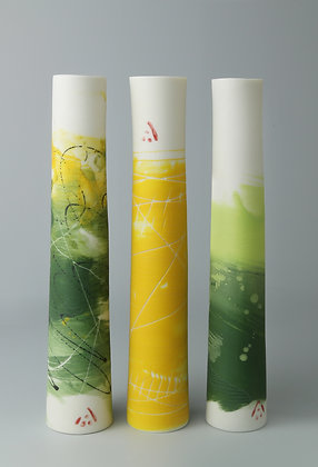 Set of three stem vases. Greens and yellows