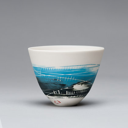 Small cup/bowl. Turquoise & black