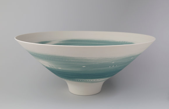 Bowl. Footed. Two teals
