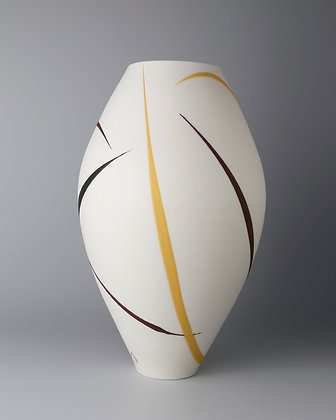 Oval vase. Burgundy & yellow splash 2
