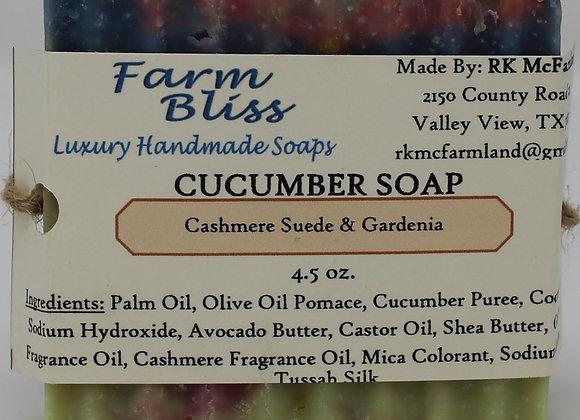 Cashmere Suede & Gardenia Cucumber Soap