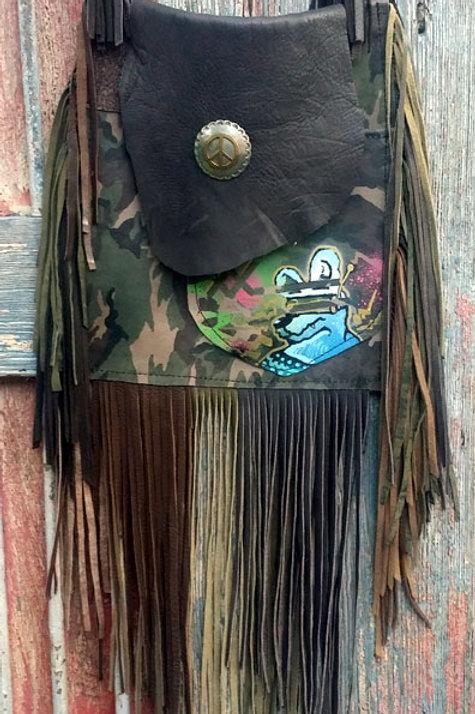 #3 CAMO GRAFFITI FLAT BAG W/ TONS OF FRINGE #3