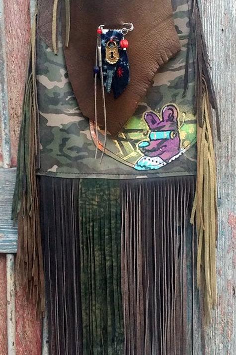 #4 CAMO GRAFFITI FLAT BAG W/ TONS OF FRINGE #4