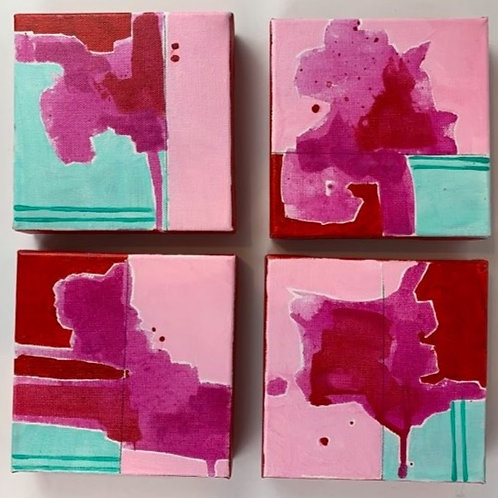Abstract Mini's Set of 4 (Red)