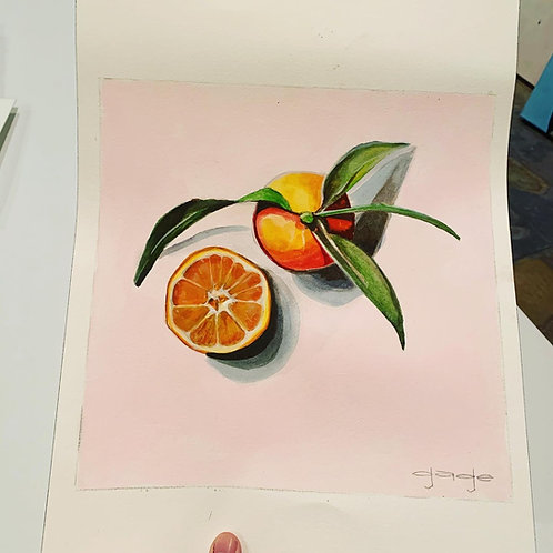 Oranges with Leaves on Paper