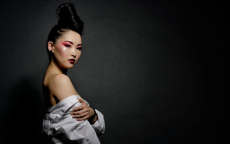 asian model with beautiful hair and make-up showing her naked shoulder | Dating with Fawn | Philadelphia, PA, USA