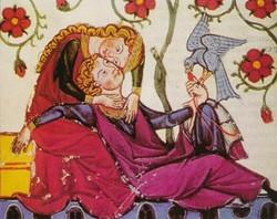 Miniatura medievale di due amanti
