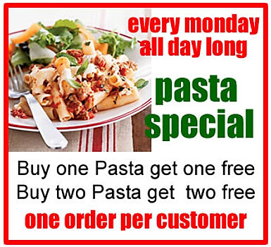 Compola's Tasty Pizza, Evey Monday Pasta Special, Buy One Pasta get one Free!
