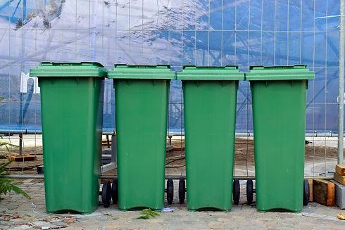 Wheelie bins or dustbin in the city cent
