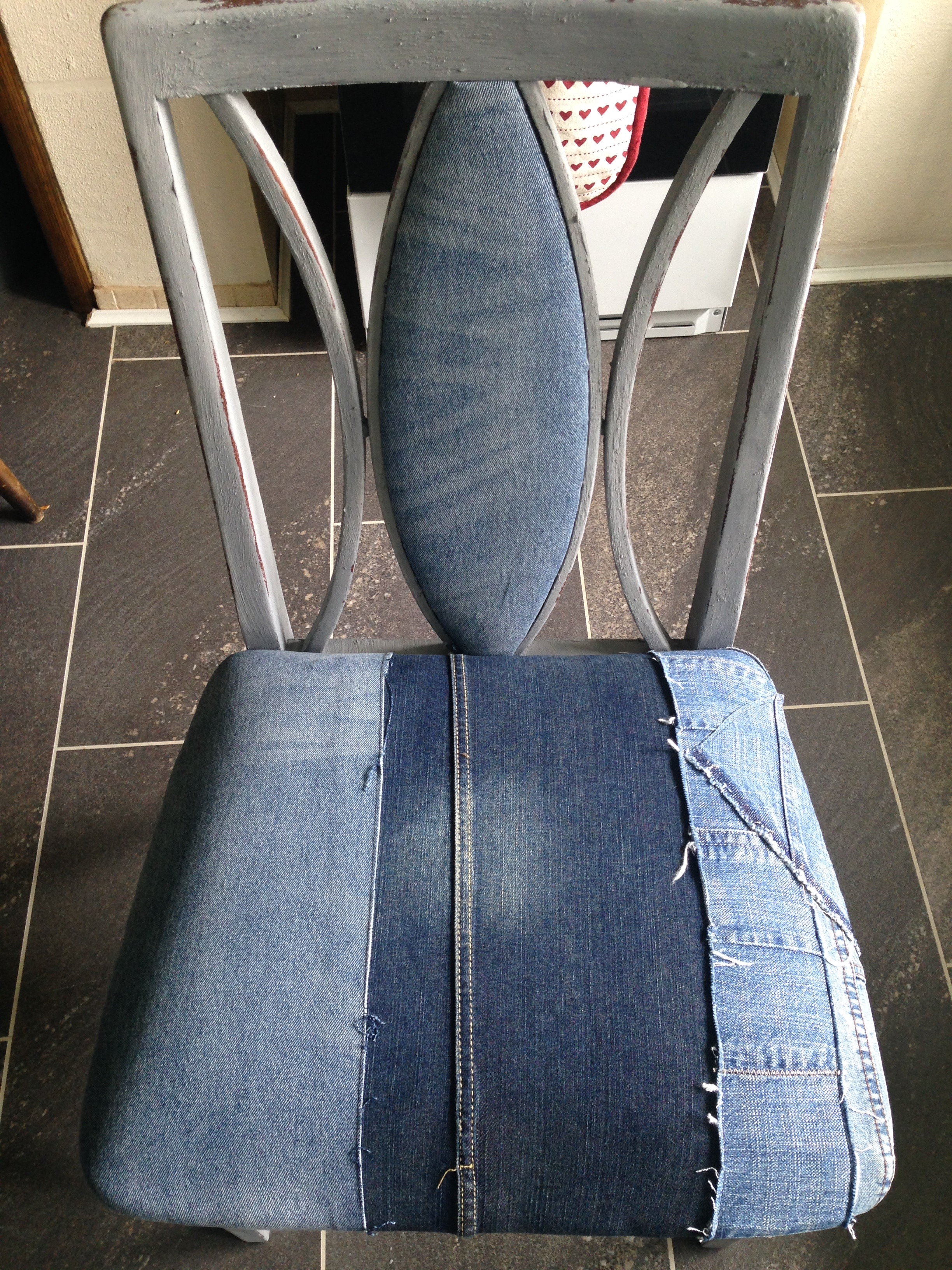 Denim dining room chair