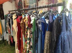 Funky rail of unique dresses