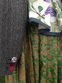 Contrasting fabrics-tweed with sari
