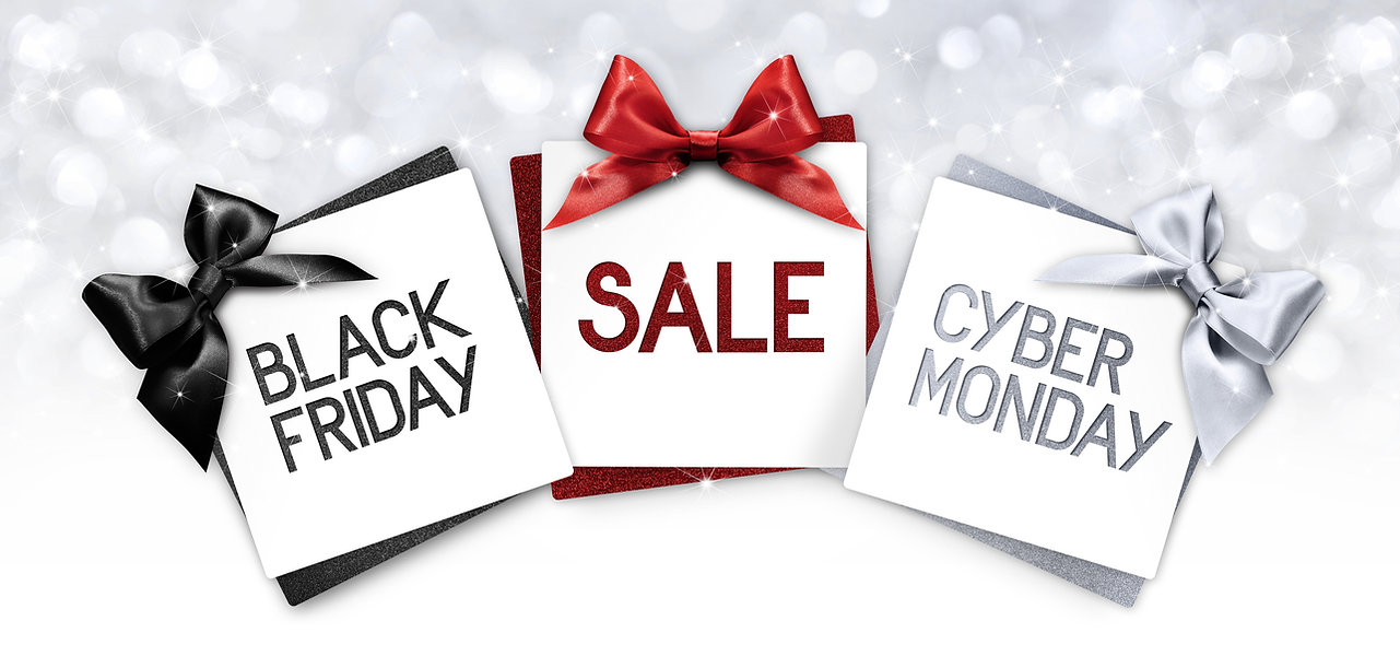 black friday and cyberg monday sale text