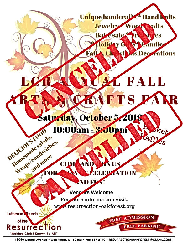 CANCELLED LCR 2019 Fall Craft Fair Flyer