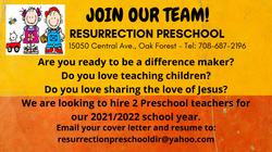Preschool teacher ad banner
