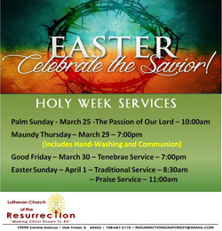 2018 Holy week Services