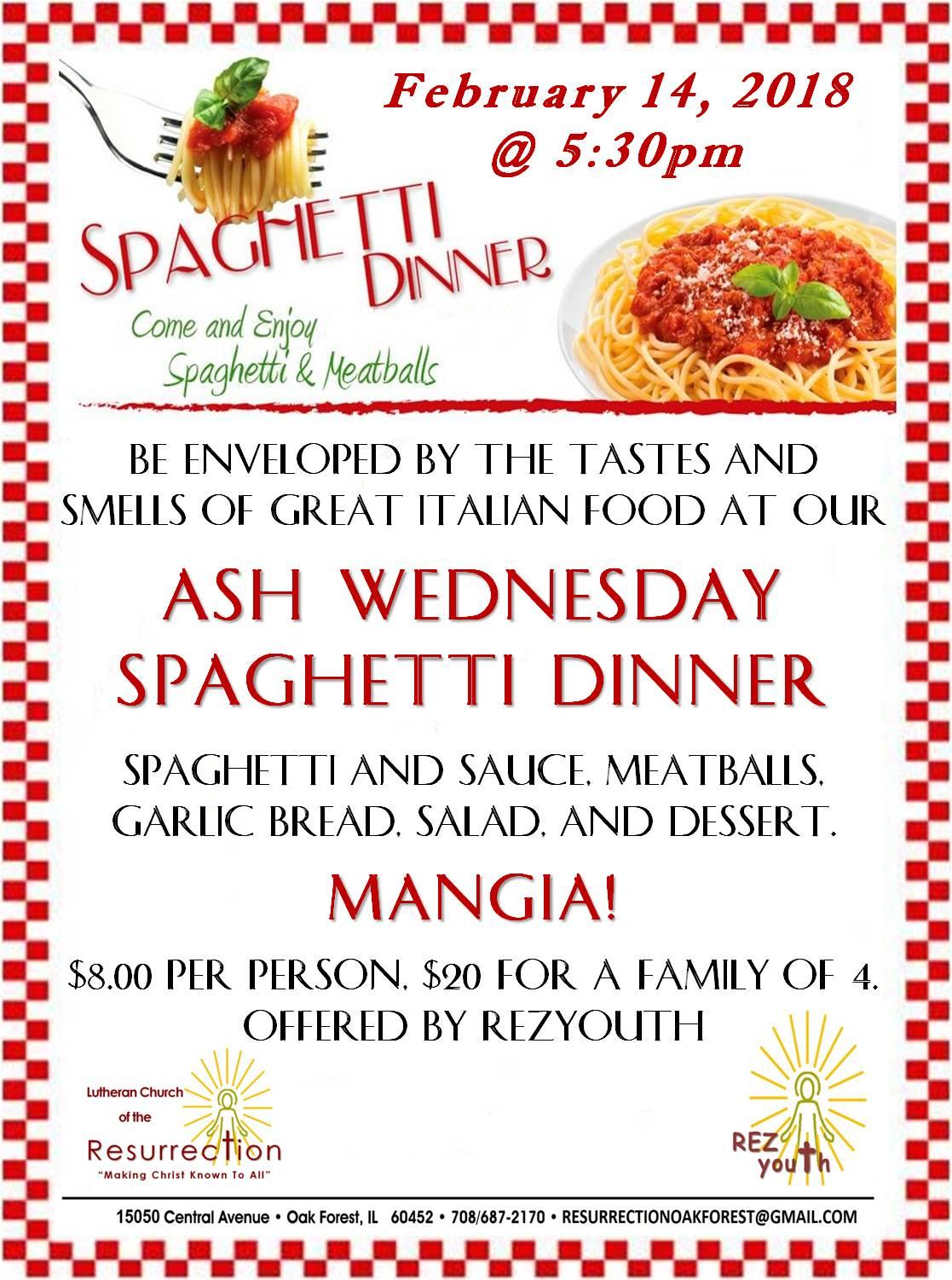2018 Spaghetti dinner  Flyer
