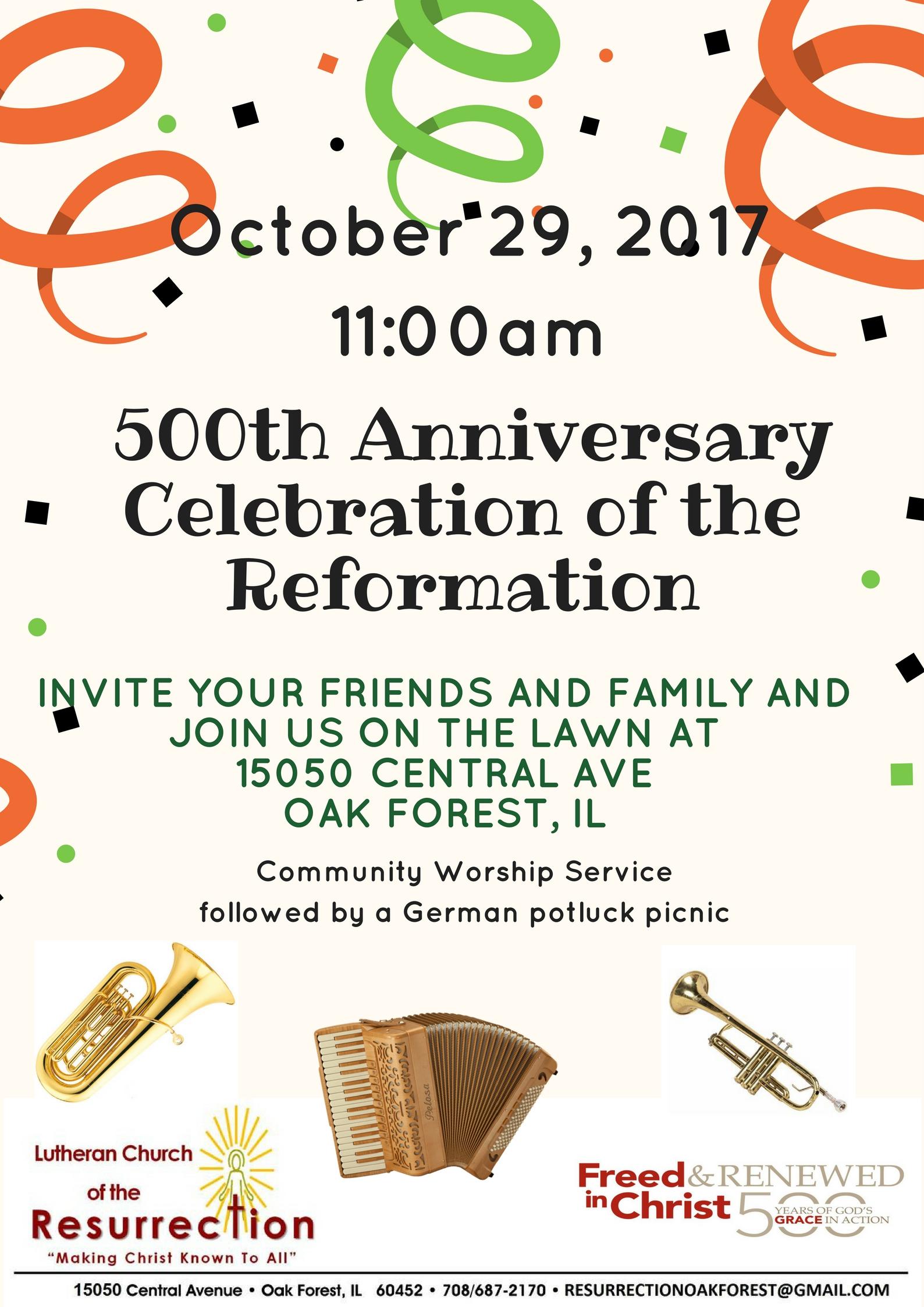 LCR 500 Reformation Celebration flyer